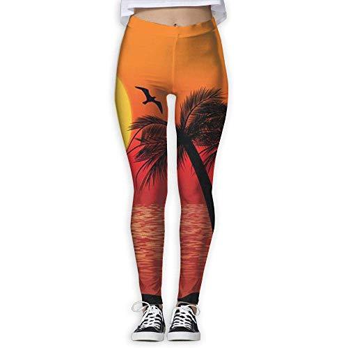 Ewtretr Yoga Pilates Hosen Fitnesshose für Damen, Tropical Scene Printed Leggings Full-Length Yoga Workout Leggings Pants