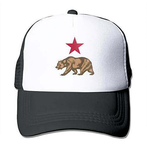Adult Unisex California Star and Bear Trucker Baseball Mesh Cap Adjustable Hat