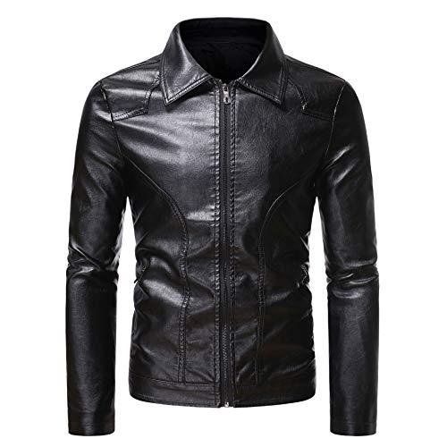 Chaqueta de piel sintética para hombre, estilo vintage, para otoño, diseño de bolsillo