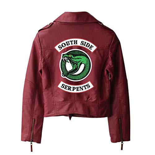 IFITBELT Mujer Chaquetas Riverdale Southside Jacket De PU Cuero Niña Serpientes Logo Impreso Moto Abrigos (2,EU S(Asia M))