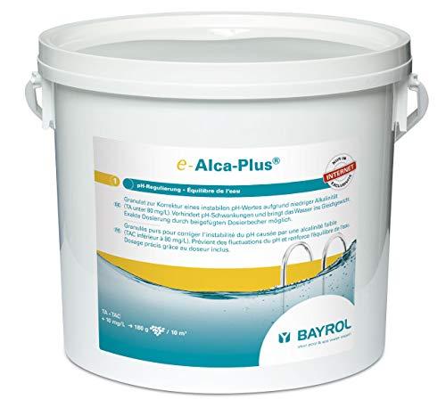 BAYROL e-Alca-Plus - Granulat zur Korrektur eines instabilen pH-Wertes aufgrund niedriger Alkalinität - Eimer enthält Dosierbecher & Plastikbeutel mit Sicherheitsverschluss - 5 kg