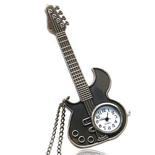 Taschenuhr Steampunk Taschen-Uhr-Antike-Bronze Gitarre förmigen Anhänger Halskette Shiying Huai Tabelle Uhr