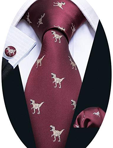 Burgundy Tie Set Silk Tie Pocket Square Cufflinks Dinosaur Pattern