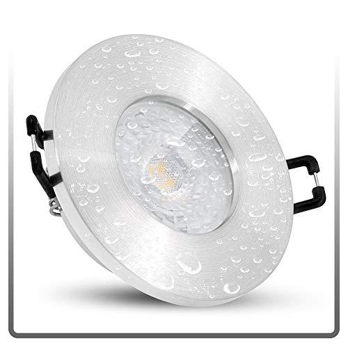 linovum ISASO Einbauspot LED flach IP65 Alu gebürstet für Bad & Dusche - mit LED Modul 5W warmweiß 230V - Deckenstrahler Spot