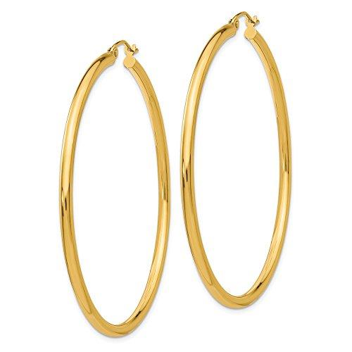 14K giallo oro 2.5mm rotonda orecchini a cerchio