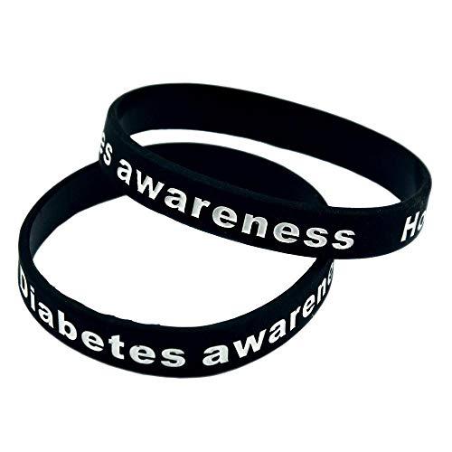 Siliconen armband diabetes Awareness diabetes waarschuwing armband inspirerende siliconen hand ring 2 stuks zwart