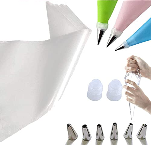 Cupcake Cake Decorating Bags Pastry Bag Piping Bag Disposable Cake Icing Decorating Piping Bags Set For Cake Decorating Reusable For Cookies Small 100PCS With 6 Decorating Tips 2 Coupler (12 inch)