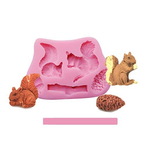 Xuebai Baum Eichhörnchen Frosch Silikonform Fondant Kuchen Schokolade CuPieceake Dekoration Werkzeug Kuchenform Pink