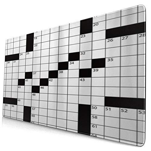 COFEIYISI Alfombrilla de Ratón Gaming Crucigrama de Estilo de periódico en Blanco Impreso en 3D con números en Word Superficie Texturizada Impermeable Base de Goma Antideslizante para Gamers Oficina