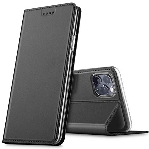 Verco Handyhülle für iPhone 12 Mini 5.4, Premium Handy Flip Cover für Apple iPhone 12 Mini Hülle [integr. Magnet] Book Hülle PU Leder Tasche, Schwarz