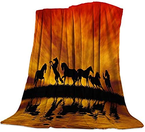 Manta de pelo largo muy suave, de The Lake Under Beautiful Red Sunset Sky ligera, decorativa para viajes, 101,6 x 127 cm