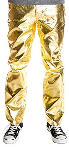 Ragstock Men's Metallic Shiny Jeans, Gold-32