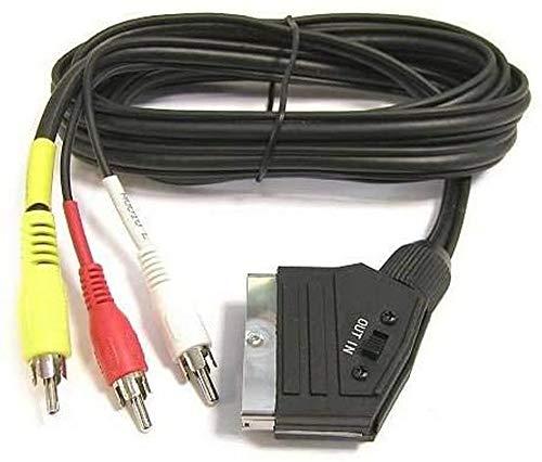 PremiumCord SCART Kabel zu 3xCINCH, Stecker zu Stecker, IN/Out Schalter, schwarz, 1,5m