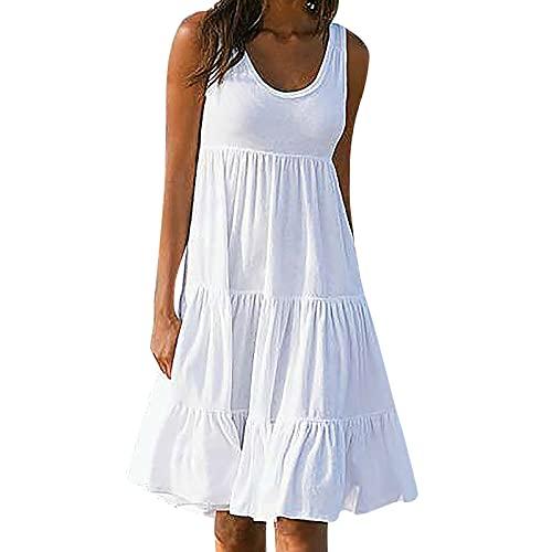 Masrin Sommerkleid für Damen Sommer einfarbiges ärmelloses Strandkleid für den Urlaub Gerüschtes Patchwork-Turmkleid Lockeres Trägerkleid A-Linien Kleid(L,Weiß)