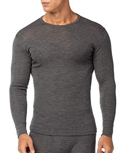 LAPASA Camiseta Térmica para Hombre de Lana Merino M31 (S (Detalle en Descripción), Gris Oscuro (Camiseta))