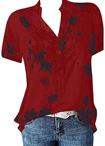HONGJ Camisa de la blusa de la blusa de la manga corta del bolsillo de la impresión de las mujeres, Vino 1, M