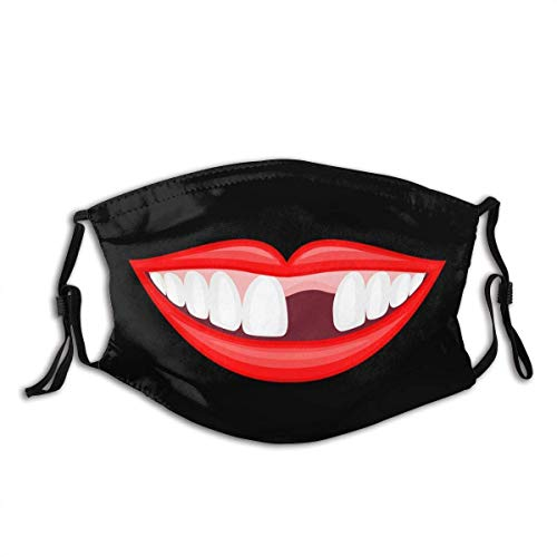 Human Mouth, Missing Teeth Face Mask With Adjustable Ear loops Unisex Gifts for Men&Wowen Balaclava Bandana