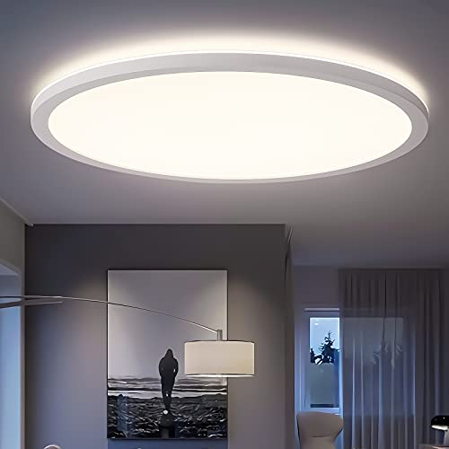 Oraymin LED Deckenleuchte Bad, 22W 2400LM LED Deckenlampe Rund Flach Panel 4000K IP44 für Wohnzimmer | Schlafzimmer | Badezimmer | Flur | Büro | Küche | Balkon, Modern Weiß Ultra Dünn 2.85cm, ø42cm