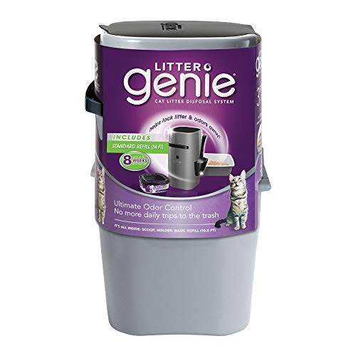 Litter Genie Pail, Ultimate Cat Litter Disposal System, Locks Away Odors, Includes One Refill