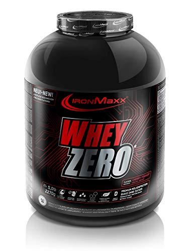 IronMaxx Whey Zero Protein - 2270g Pulver - 45 Portionen - Kirsche Joghurt - Molkenprotein mit 97 % Whey Anteil - Zuckerfreies Protein Isolat für den Muskelaufbau - Desgined in Germany