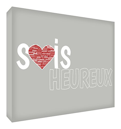Feel Good Art Sois Heureux Bloc Décoratif en Acrylique Transparent Poli comme Diamant Gris 10,5 x 7,4 x 2 cm