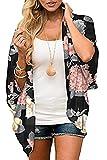 Yutdeng Cardigan Chiffon Donna Floral Kimono con Maniche a 3/4 Copricostume de Mare Cover Up Estivo Casual per Spiaggia