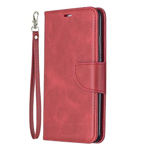 Lomogo Huawei Y7 / Y7 Prime Hülle Leder, Schutzhülle Brieftasche mit Kartenfach Klappbar Magnetverschluss Stoßfest Kratzfest Handyhülle Case für Huawei Y7 / Y7 Prime - LOBFE150410 Rot