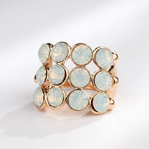 Anillo Mujer Ladies Opal Inlaid Engagement Ring Joyería Vintage De Oro Exquisita Fiesta De Regalo del Día De La Madre De Rhinestone