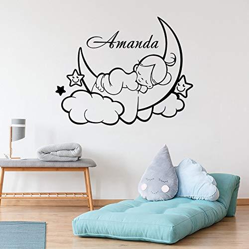 Sanzangtang wolken maan slaap baby met naam gepersonaliseerde wanddecoratie kinderen baby meisjes slaapkamer decoratie mooie wandposter schattige muur kamer