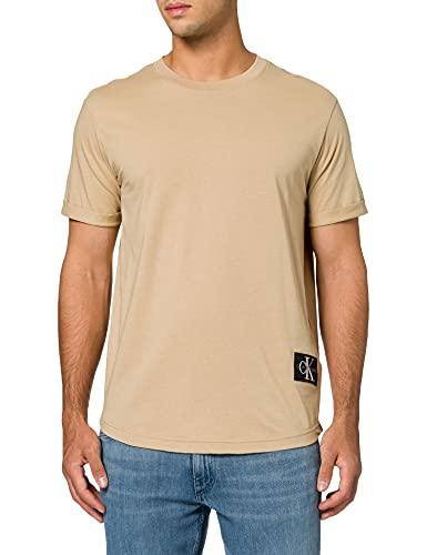 Calvin Klein Jeans Badge Turn Up Sleeve T-Shirt, Travertino, L Uomo