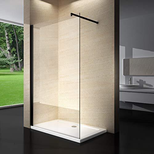 Yellowshop - Parete Doccia Fissa Walk In Cristallo 8 MM Trasparente Box Cabina Bagno 100 120 140 profilo NERO (120 cm)