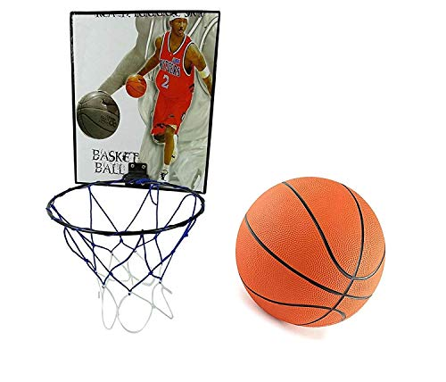 Toyshine Indoor Door and Wall Mountable Basketball Hoop Set with 7 No Basketball, Mix Color (SSTP)