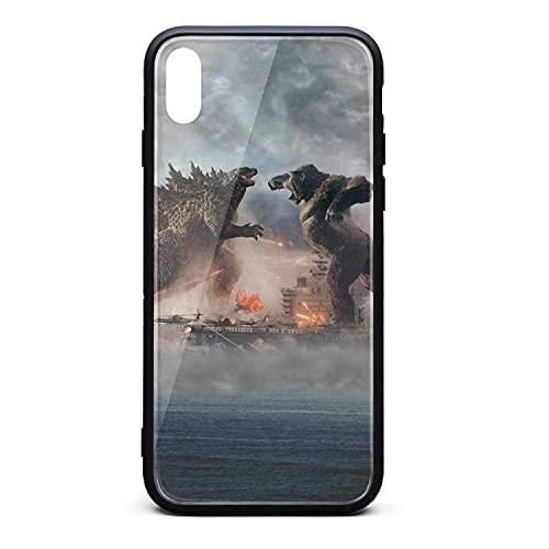 Funda Resistente a rayones King Kong contra Godzilla Funda iPhone XS MAX Funda rígida 9H de Vidrio Templado para iPhone XS MAX