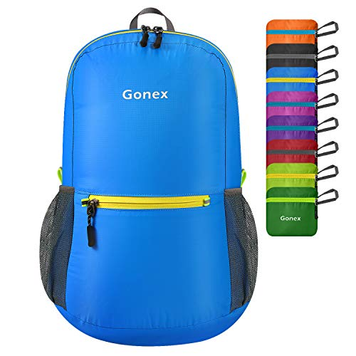 Gonex Ultra Lightweight Packable Backpack Daypack Handy Foldable Camping Outdoor Travel Cycling Backpacking(Blue)
