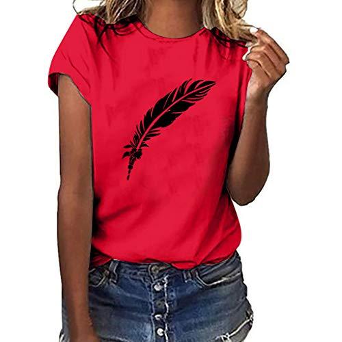 KEERADS Damen T-Shirt Einfarbig Rundhals Kurzarm Sommer Shirt Locker Oberteile Basic Tops Einfacher Stil