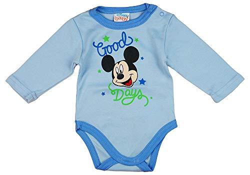 Kleines Kleid Junge Baby Body Lang-Arm mit Mickey Mouse in Blau oder Grau (Modell 1, 86)