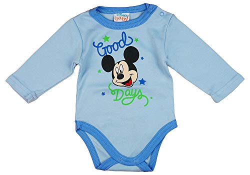 Kleines Kleid Junge Baby Body Lang-Arm mit Mickey Mouse in Blau oder Grau (Modell 1, 86)