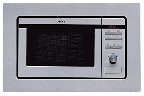 Amica EMW13180E Mikrowelle (Einbau) / 59,5 cm/schwarzes Glas, Edelstahl, TouchFree - digitaler Timer, LED Display - Knebelsteuerung, Drucktasten