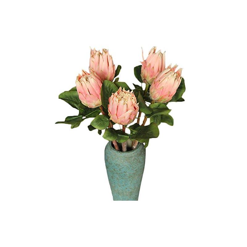 silk flower arrangements calcifer 6 pcs the king protea (protea cynaroides) artificial flowers plants for home garden wedding party decoration (pink,68cm)