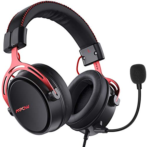 Mpow Air SE Gaming Headset für PS4/PC/Xbox One/Switch/Mac, 3.5 mm Headphone mit Noise Cancelling-Mikrofon, Over-Ear Gaming Kopfhörer mit 3D Surround Sound, ps4 headset mit 50MM-Treiber, Rotes Metallma