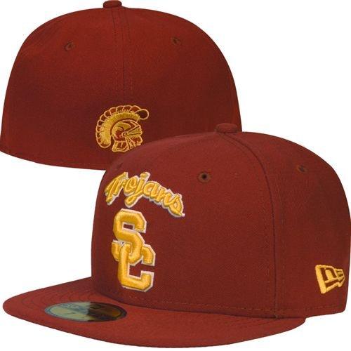 NEW ERA 59fifty Hat USC Trojans Fitted College Ac Script Cardinal Red Cap (7  3 78582efe8305