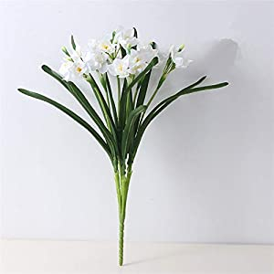 Fake Plants Narcissus Bouquet with Green Leaves, Silk Artificial Flowers Home Table Decor Living Room Decoration Fake Flower