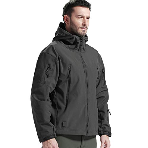 FREE SOLDIER Men's Fleece Lined Softshell Tactical Jacket Breathable Water Resistant Windproof Jacket Winter Snowboarding Skiing Hooded Jacket (Gray Medium/US)