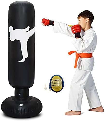 Inflatable Punching Bag for Kids, 160cm Free Standing Punch Bag Kids Punching Bag Freestanding Target Stand with a Free Foot Air Pump for Adult kids Home Fittness Boxing Equipment