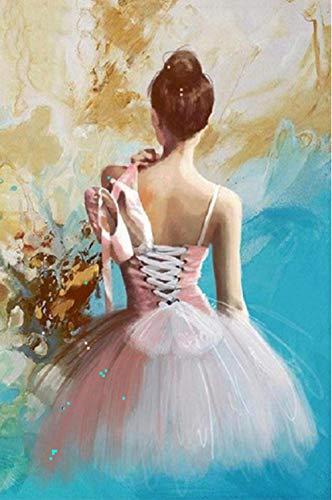 KAOLWY Pintar con Numeros Lienzos Elegante Bailarina De Ballet-H,Pintura Guiada por Números para Adultos Y Niños 40.8X50.6 Cm Sin Marco