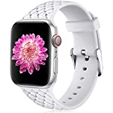 Oielai Compatible con Apple Watch Correa 38mm 40mm 42mm 44mm, Impermeable Suave Silicona Tejido Deportes Reemplazo Correas para Iwatch Serie 5 6 4 3 2 1 SE, Mujeres Hombres, Pequeña Blanco