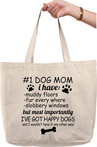 #1 Dog Mom Muddy Floors Slobbery Windows Happy Dogs Funny Pets Natural Canvas Tote Bag funny gift