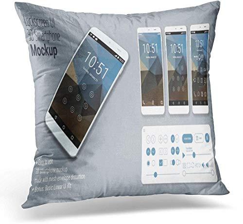 Kinhevao Throw Pillow Screen Lockscreen Mobile Ui Smartphone Mockup Phone Almohada Decorativa Decoración para el hogar Square Pillow