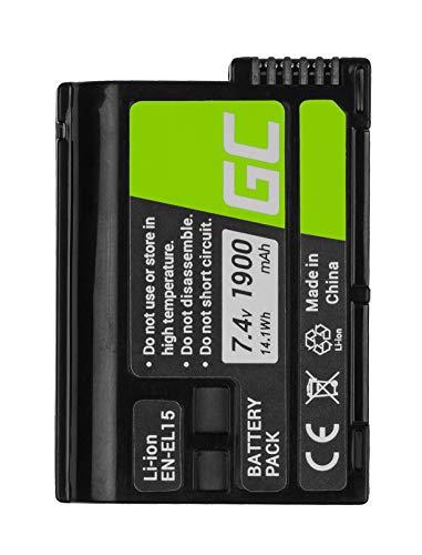 Green Cell® EN-EL15 EN-EL15A Batería para Nikon 1 V1 D500 D600 D610 D750 D800 D810 D850 D7000 D7100 D7200 D7500 MB-D11 MB-D12 MB-D14 Cámara, Full Decoded (1900mAh 7.4V)