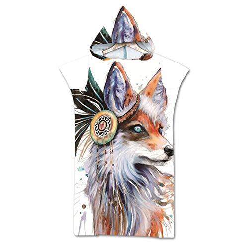Wolf gedrukt badcape, wearable badhanddoek volwassene, microfiber strandlaken, Robe handdoek Poncho Blanket, sjaal badhanddoek voor Surf & Beach,E